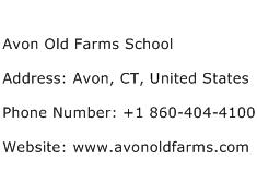 Avon Old Farms School Address Contact Number