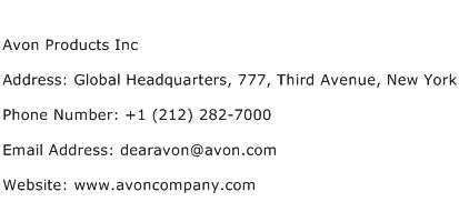 Avon Products Inc Address Contact Number