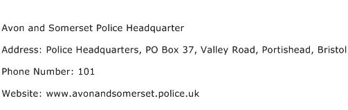 Avon and Somerset Police Headquarter Address Contact Number