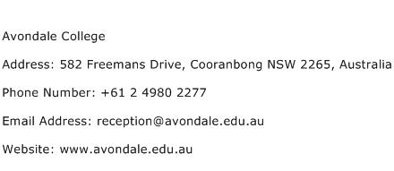 Avondale College Address Contact Number