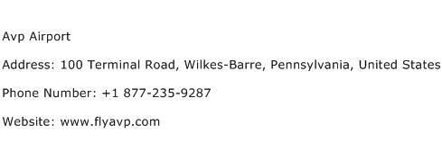 Avp Airport Address Contact Number