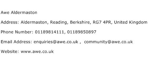 Awe Aldermaston Address Contact Number