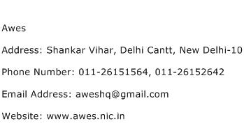 Awes Address Contact Number
