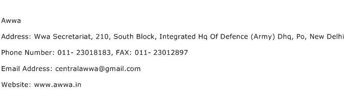 Awwa Address Contact Number