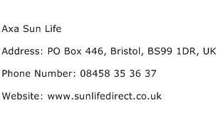 Axa Sun Life Address Contact Number