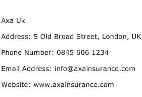 Axa Uk Address Contact Number
