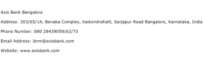 Axis Bank Bangalore Address Contact Number