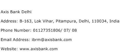 Axis Bank Delhi Address Contact Number