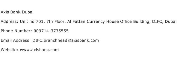 Axis Bank Dubai Address Contact Number