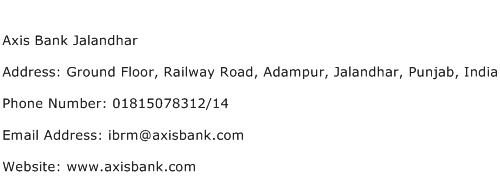 Axis Bank Jalandhar Address Contact Number