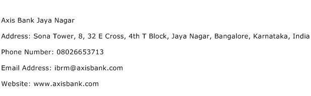 Axis Bank Jaya Nagar Address Contact Number