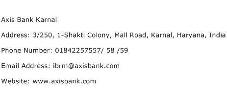Axis Bank Karnal Address Contact Number