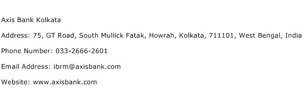 Axis Bank Kolkata Address Contact Number