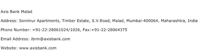 Axis Bank Malad Address Contact Number