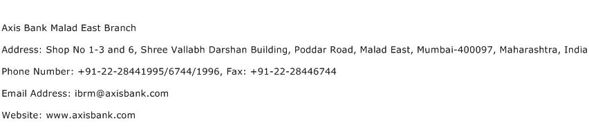 Axis Bank Malad East Branch Address Contact Number