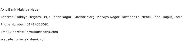 Axis Bank Malviya Nagar Address Contact Number