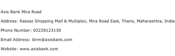 Axis Bank Mira Road Address Contact Number