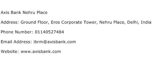 Axis Bank Nehru Place Address Contact Number