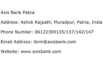 Axis Bank Patna Address Contact Number
