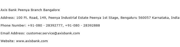 Axis Bank Peenya Branch Bangalore Address Contact Number