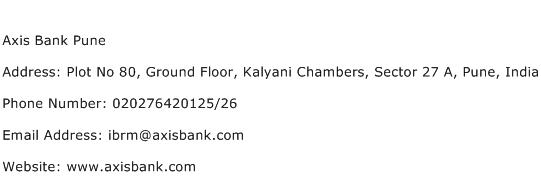 Axis Bank Pune Address Contact Number