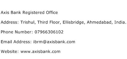 Axis Bank Registered Office Address Contact Number