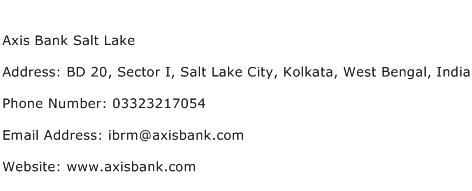 Axis Bank Salt Lake Address Contact Number