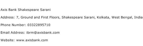 Axis Bank Shakespeare Sarani Address Contact Number