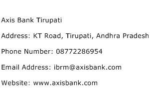 Axis Bank Tirupati Address Contact Number