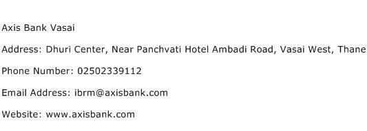 Axis Bank Vasai Address Contact Number