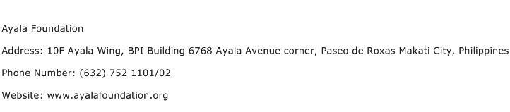 Ayala Foundation Address Contact Number