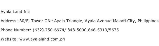 Ayala Land Inc Address Contact Number