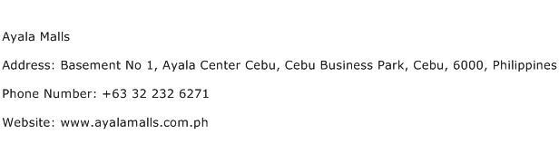 Ayala Malls Address Contact Number