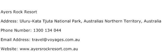 Ayers Rock Resort Address Contact Number