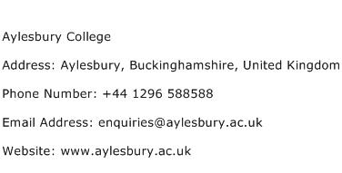 Aylesbury College Address Contact Number