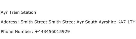 Ayr Train Station Address Contact Number