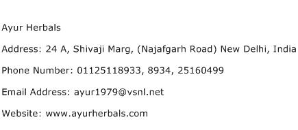 Ayur Herbals Address Contact Number