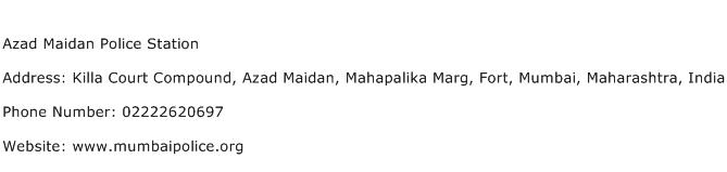 Azad Maidan Police Station Address Contact Number