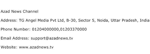 Azad News Channel Address Contact Number