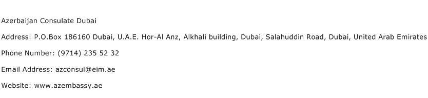 Azerbaijan Consulate Dubai Address Contact Number