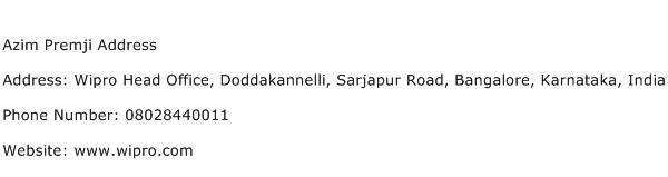 Azim Premji Address Address Contact Number