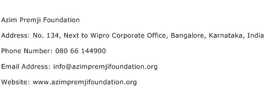 Azim Premji Foundation Address Contact Number