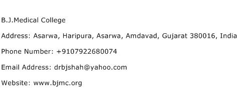 B.J.Medical College Address Contact Number