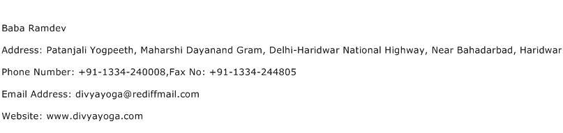 Baba Ramdev Address Contact Number