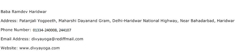 Baba Ramdev Haridwar Address Contact Number