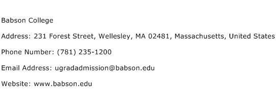 Babson College Address Contact Number