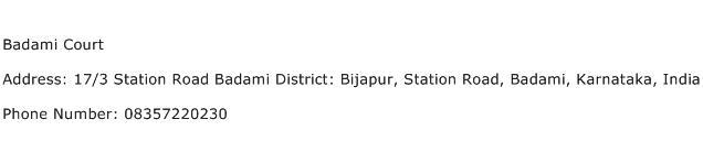 Badami Court Address Contact Number