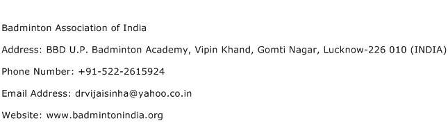 Badminton Association of India Address Contact Number