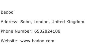 Badoo Address Contact Number