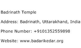 Badrinath Temple Address Contact Number